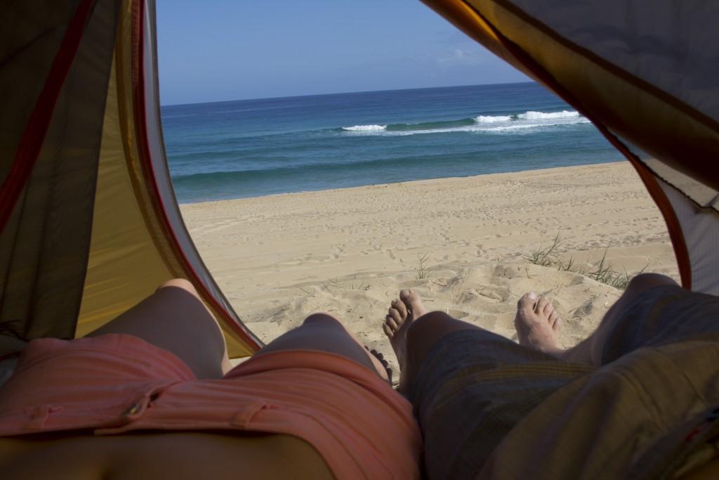 Camping at Polihale State Park, Kauai.
